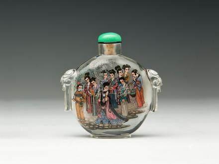 曲克濤 玻璃內繪鬥茶圖鼻煙壺