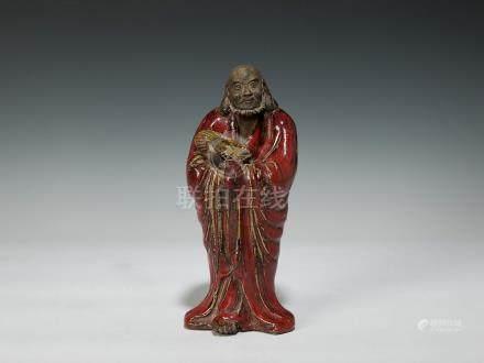石灣紅釉達摩像