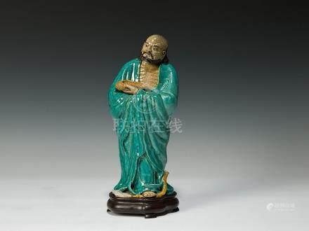 石灣綠釉達摩像連座