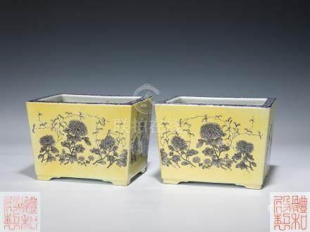 光緒 體和殿製 黃地墨粉牡丹紋花盆一對