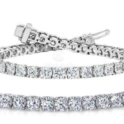 Natural 7.04ct VS-SI Diamond Tennis Bracelet 14K White