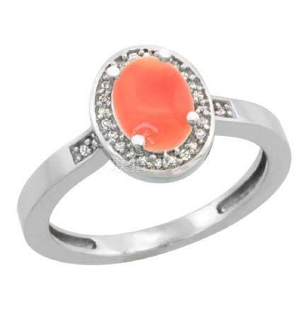 Natural 0.83 ctw Coral & Diamond Engagement Ring 14K