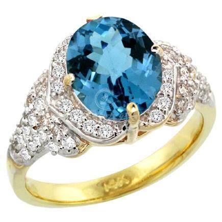 Natural 2.92 ctw london-blue-topaz & Diamond Engagement
