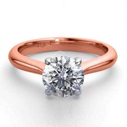 14K Rose Gold 0.91 ctw Natural Diamond Solitaire Ring -