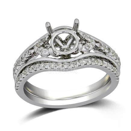 0.32 CTW Diamond Wedding Ring Set 14K White Gold -