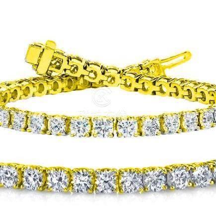 Natural 7.03ct VS-SI Diamond Tennis Bracelet 18K Yellow