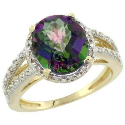 Natural 3.47 ctw Mystic-topaz & Diamond Engagement Ring