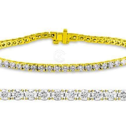 Natural 3ct VS-SI Diamond Tennis Bracelet 14K Yellow
