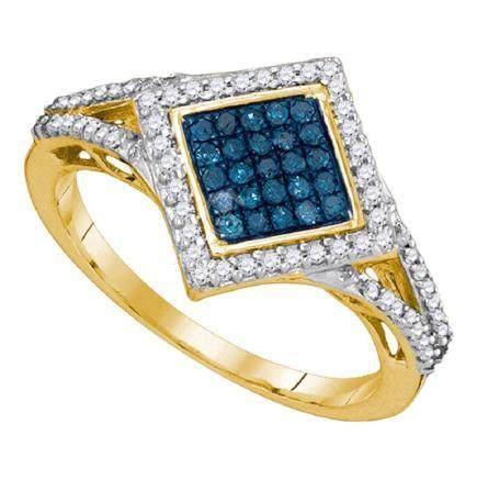 0.33 CTW Blue Color Diamond Diagonal Square Cluster
