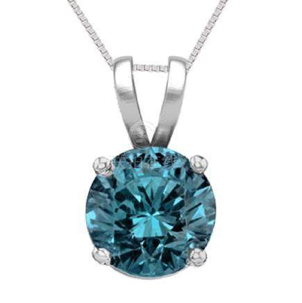 14K White Gold 1.02 ct Blue Diamond Solitaire Necklace