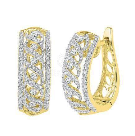 0.75 CTW Diamond Crisscrossed Openwork Hoop Earrings