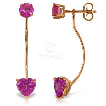 Genuine 4.55 ctw Pink Topaz Earrings Jewelry 14KT Rose