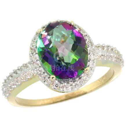 Natural 2.56 ctw Mystic-topaz & Diamond Engagement Ring