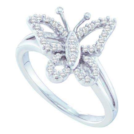 0.25 CTW Diamond Butterfly Bug Cluster Ring 14KT White