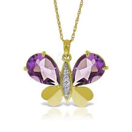 Genuine 6.6 ctw Amethyst & Diamond Necklace Jewelry