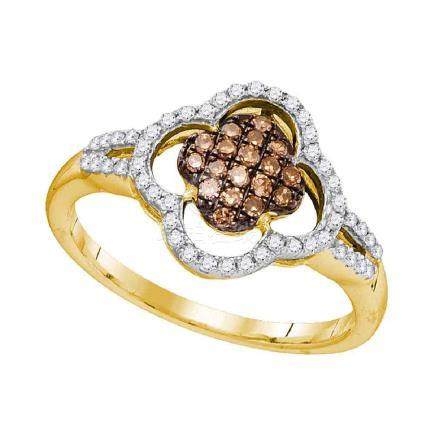 0.33 CTW Cognac-brown Color Diamond Cluster Ring 10KT