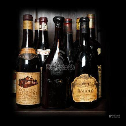 60's - 70's Barolo Wine Collection, 9 bottles x 75 cl