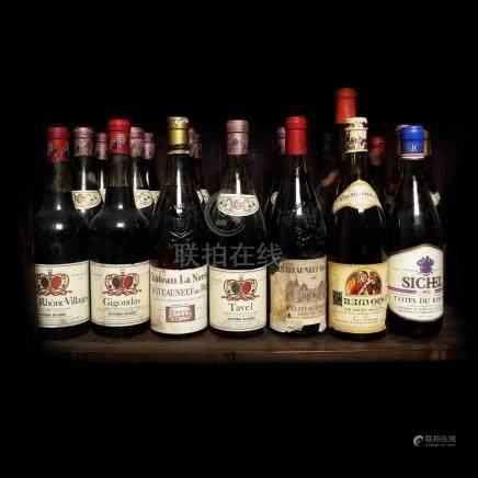 60's - 70's Côtes du Rhône Wine Collection, 21 bottle x 75 c