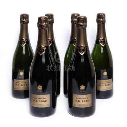 2002 Bollinger RD Champagne, 6 bottles x 75 cl, in wooden cr