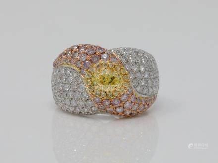 3.20ctw VS2-SI1 Argyle Pink, Yellow & White Diamond Solid 18