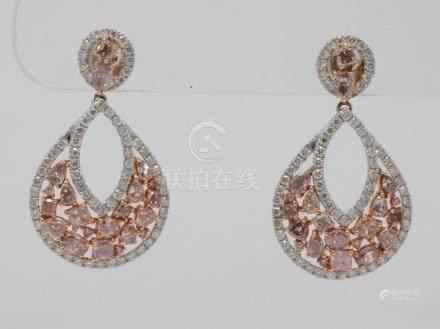 3.80ctw VS1-VS2 Argyle Pink & White Diamond Solid 18K White/
