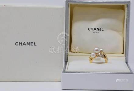 Chanel Vintage 6mm-8mm Pearl, 0.60ctw VS1-VS2/F-G Diamond &