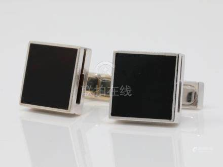 Gucci Solid 18K White Gold & Onyx Square Cufflinks