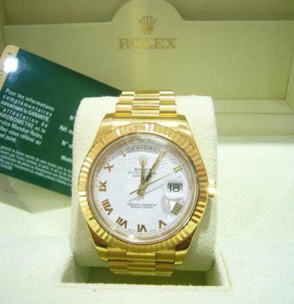 Rolex 18k Yellow Gold Gold President Day-Date II 41mm White