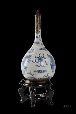 Vietnamese 18th C. Bleu de Hue Porcelain Wine Bottle W/Metal