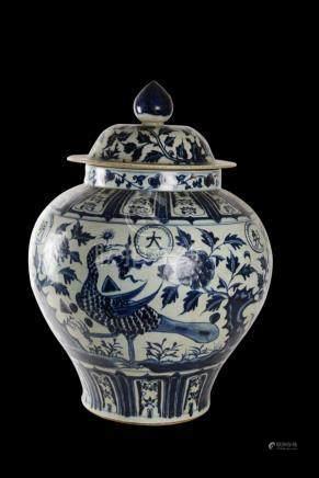 Ming Dynasty Blue Underglazed White Porcelain Lidded Jar W/F