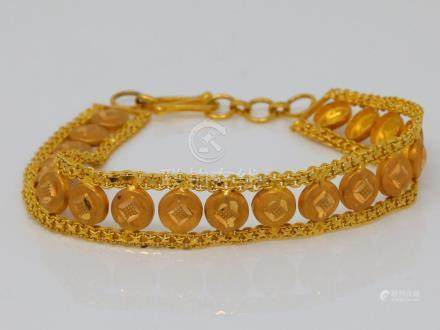 "Solid 22K Yellow Gold 11mm Wide 7"" Bracelet"