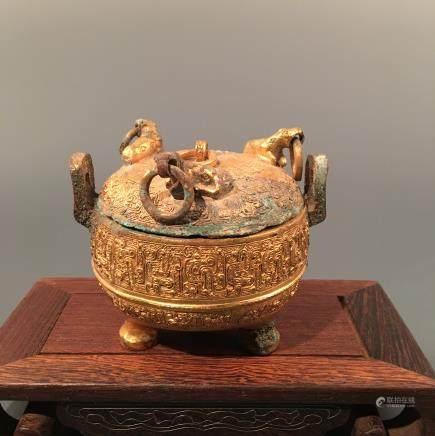 Chinese Gilt Bronze Tripod Censor
