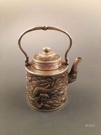 Chinese Silvering 'Dragon' Teapot