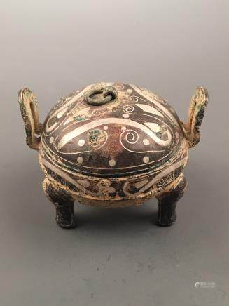 Chinese Silvering and Gold Plating Tripod Vessel