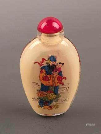 Chinese Glass Inner Painting Immortals Snuff Bottle