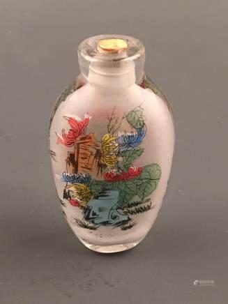 Chinese Glass Inner Painting 'Flower' Snuff Bottle