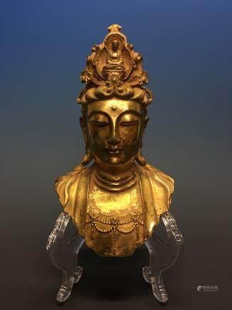 Chinese Gilt Bronze Buddha Head