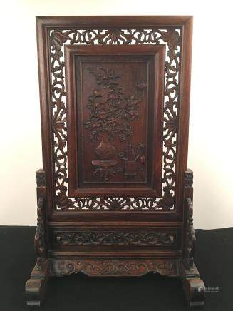 Chinese Hardwood Screen With Flower Decoration