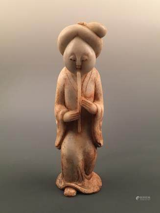 Chinese Archaic 'Flute Beauty' Jade Statue