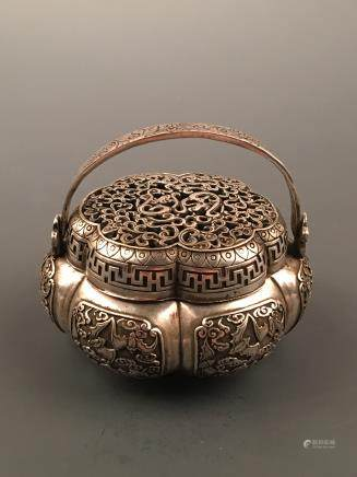 Chinese Silvering Bronze Hand Warmer