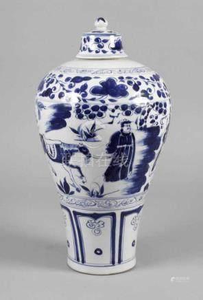 Vase China19. Jh., ungemarkt, weiß glasiertes Porzellan in kobaltblauer Unterglasurbemalung,