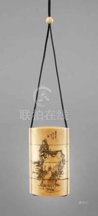 InroJapan, Anfang 20. Jh., signiert, Elfenbein, mehrteilig geschnitzt, graviert und teils