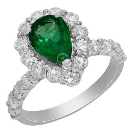 14k White Gold 1.59ct Emerald 1.49ct Diamond Ring
