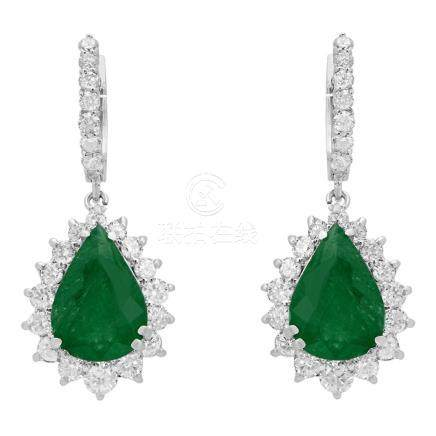 14k White Gold 7.14ct Emerald 2.45ct Diamond Earrings