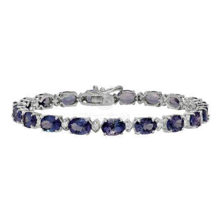 14k White Gold 14.71ct Tanzanite 0.81ct Diamond Bracelet