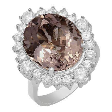 14k White Gold 9.20ct Kunzite 1.38ct Diamond Ring