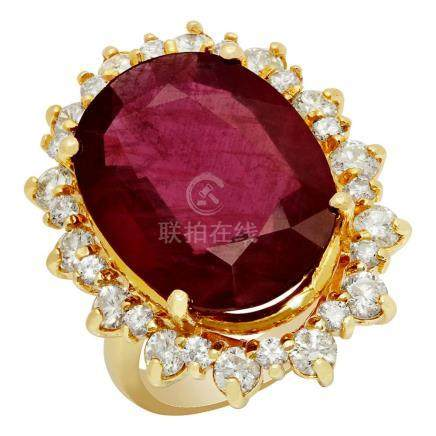 14k Yellow Gold 14.90ct Ruby 2.13ct Diamond Ring