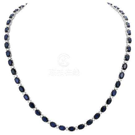 14k White Gold 34.67ct Sapphire 1.48ct Diamond Necklace