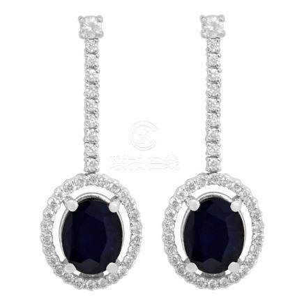 14k White Gold 4.60ct Sapphire 0.79ct Diamond Earrings