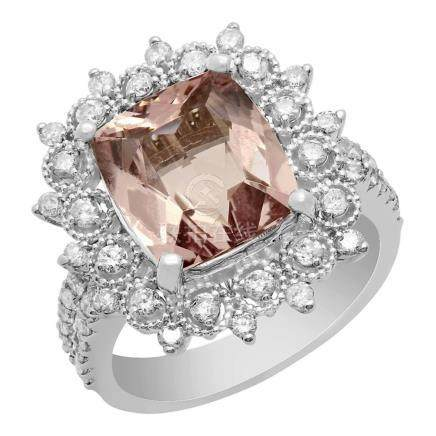 14k White Gold 3.79ct Morganite 0.92ct Diamond Ring